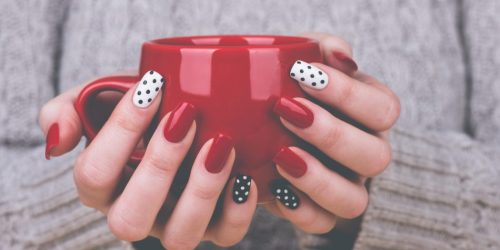 Red Nails with a Couple Accents