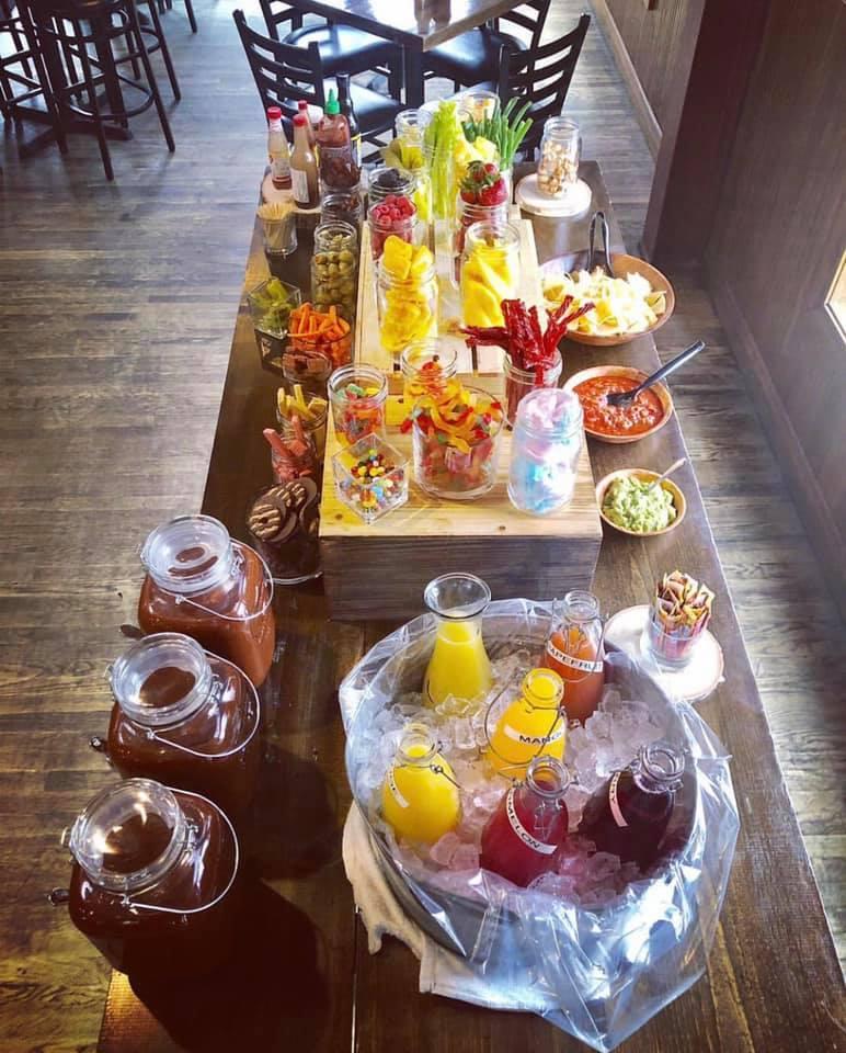 Bloody Mary and Mimosa Bar at the wooden Nickel bar