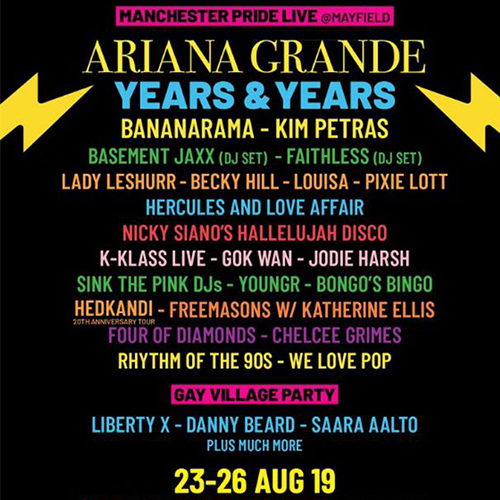 Manchester Pride Line Up 2019