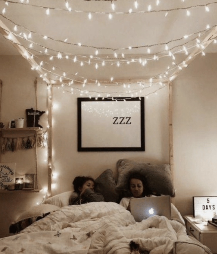 Twinkle light example in a dorm room