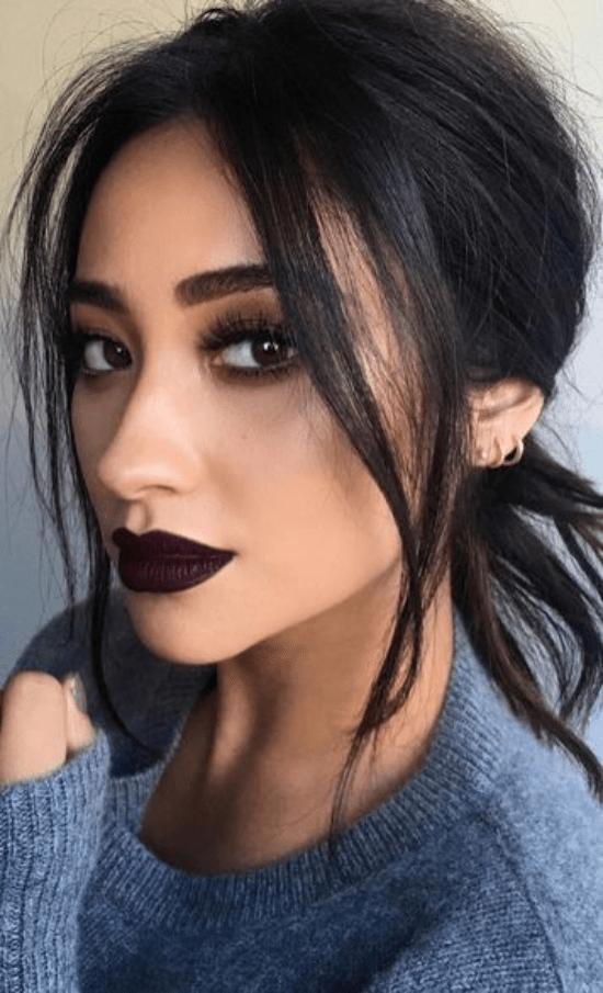 Shay Mitchell dark cherry lip and dark eye makeup