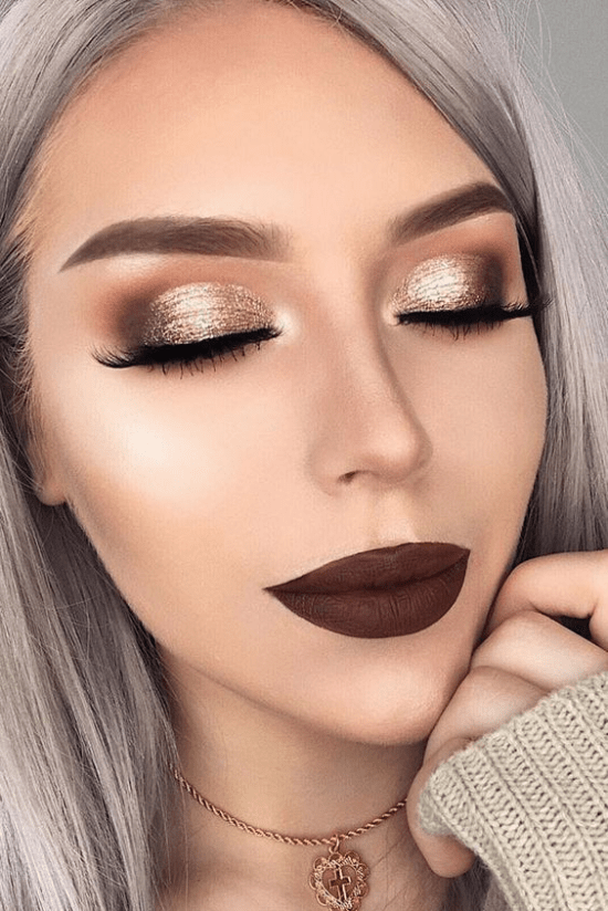 glitter eye makeup with dark brown lip