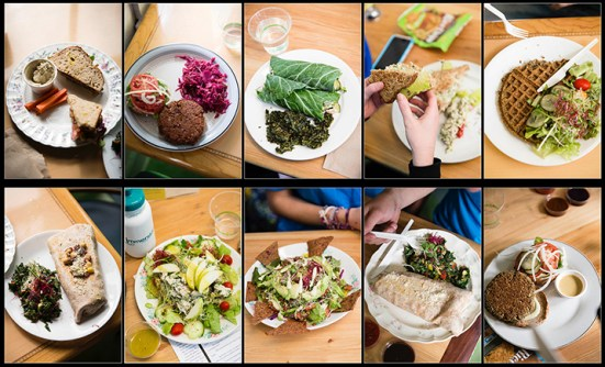 A collage of various brunch and lunch dishes served at Daily Green