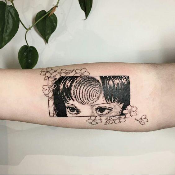 surreal scary tattoo idea
