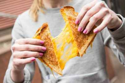 Super cheesy grilled cheese sandwich