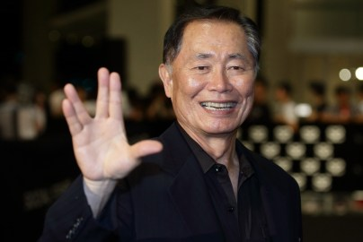 SINGAPORE - MAY 23: American actor and author, George Hosato Takei gestures on the red carpet during the Social Star Awards 2013 at Marina Bay Sands on May 23, 2013 in Singapore. (Photo by Suhaimi Abdullah/Getty Images)