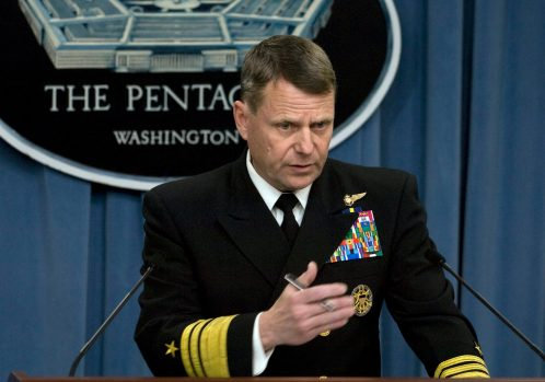 U.S. Navy Vice Adm. Bill Gortney, the director of the Joint Chiefs of Staff, briefs the media March 28, 2011, at the Pentagon in Arlington, Va., about the current situation in Libya. The briefing covered the operations of Joint Task Force Odyssey Dawn, the United States