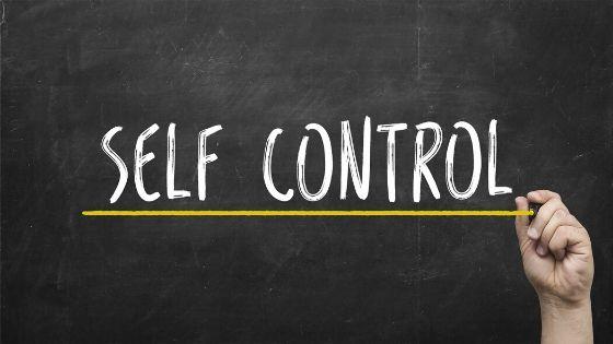the words self control written on a chalkboard