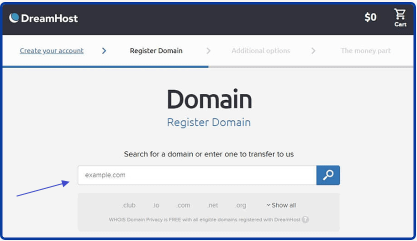 dreamhost search domain
