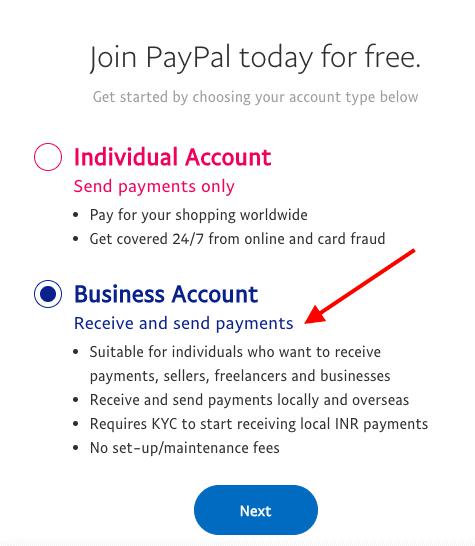 type de compte paypal