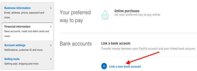 banque de liens d'informations financières paypal