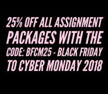 25% off all assignment packages with the code: BFCM25 – Black Friday to Cyber Monday 2018