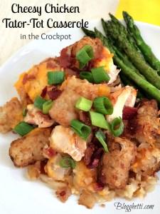 Cheesy Chicken Tator Tot Casserole in the Crockpot