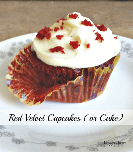 These Red Velvet cupcakes are dramatic in color with their bright red color and topped with cream cheese frosting. The cupcakes have a mild chocolate flavor and are so moist. The mild chocolate flavor comes from adding a small amount of cocoa powder to the batter and buttermilk gives it an extra moist touch.