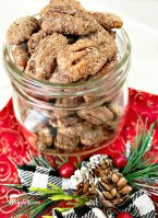 Cinnamon Sugared Pecans in glass jar