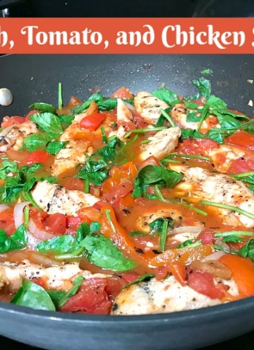 Spinach Tomato and Chicken Skillet #chicken #healthy #paleo Add #pasta for a non-paleo version