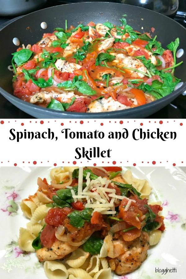 Spinach Tomato and Chicken Skillet #chicken #healthy #paleo Add #pasta for a non-paleo version