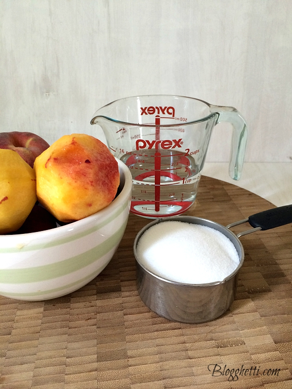 ingredients for making peach simple syrup: peaches, water, and sugar