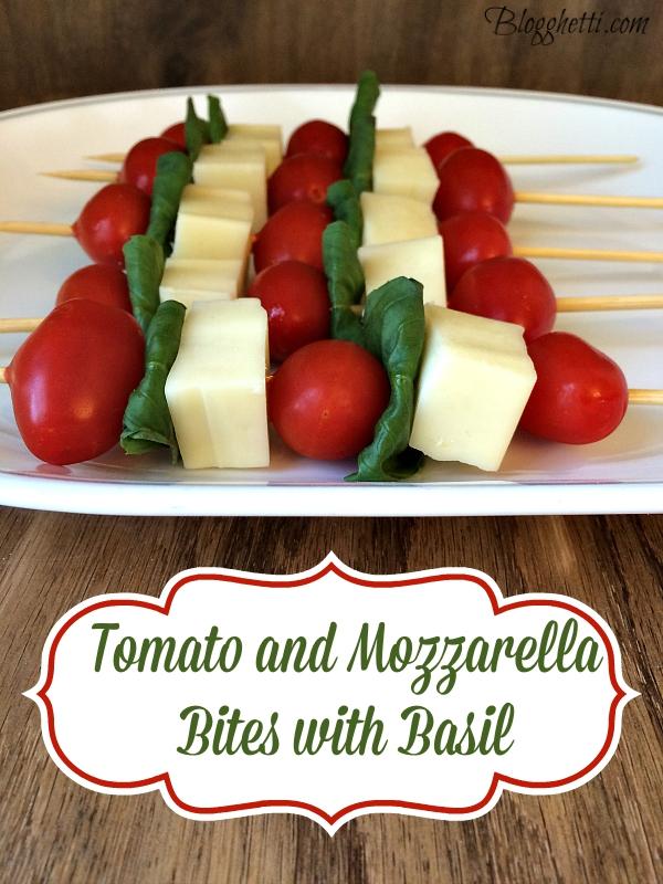 tomato and mozzarella bites with basil
