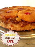 Pineapple upside down cake on cake plate