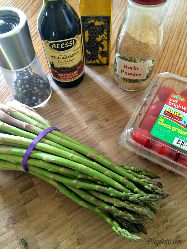 ingredients for roasted asparagus and tomatoes