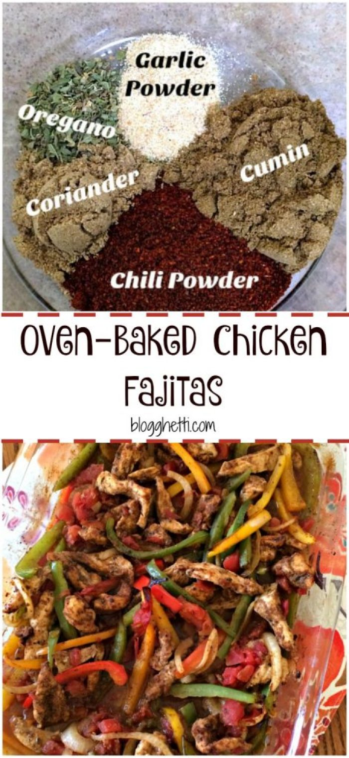 Baking chicken fajitas in the oven is effortless, really it is. Just toss all the ingredients in the baking dish and bake. The oven does the work and roasting the meat and vegetables gives them a slightly charred edge and a sweetness that is just so good. Another great reason to baked your chicken fajitas is that you can make a larger portion for either serving more people or leftovers.