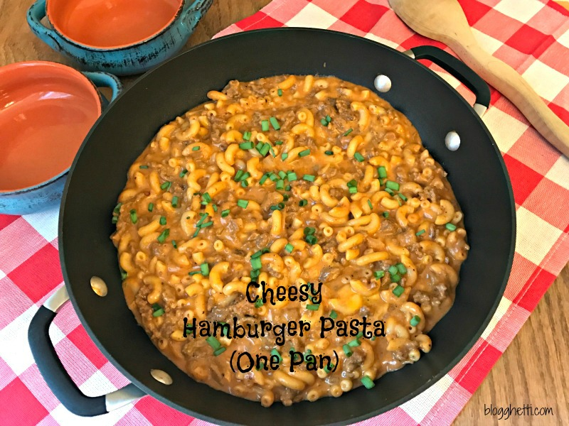 This delicious Cheesy Hamburger Pasta (One Pan) comes together in under 30 minutes with ingredients that you probably already have on hand. If you love the Hamburger Helper type meals, you'll love this skillet meal!