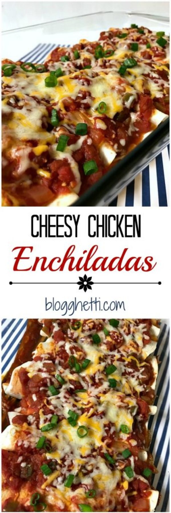 This Cheesy Chicken Enchilada dish is sure to become a family favorite with all of the cheesy, creamy, and slightly spicy goodness mixed with the shredded chicken; all wrapped up in a tortilla shell.