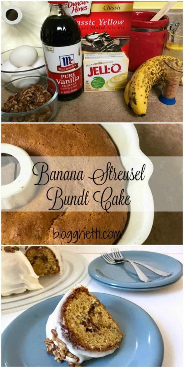 This Banana Streusel Bundt Cake is a perfect way to use up those very ripe bananas you have just laying around. The Cream Cheese Frosting is to die for and the cake is so moist and delicious.