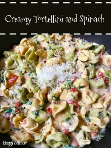 This family favorite Creamy Tortellini and Spinach meal is perfect for your Meatless Mondays. It's filled with cheesy tortellini, spinach and fresh herbs and a spicy creamy sauce that will have everyone asking for seconds.