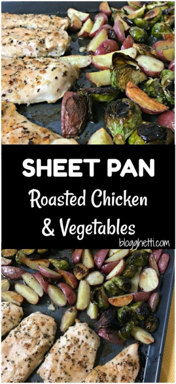 This healthy, simple, and delicious sheet pan roasted chicken and vegetables is ready in 30 minutes. Perfect for busy nights!