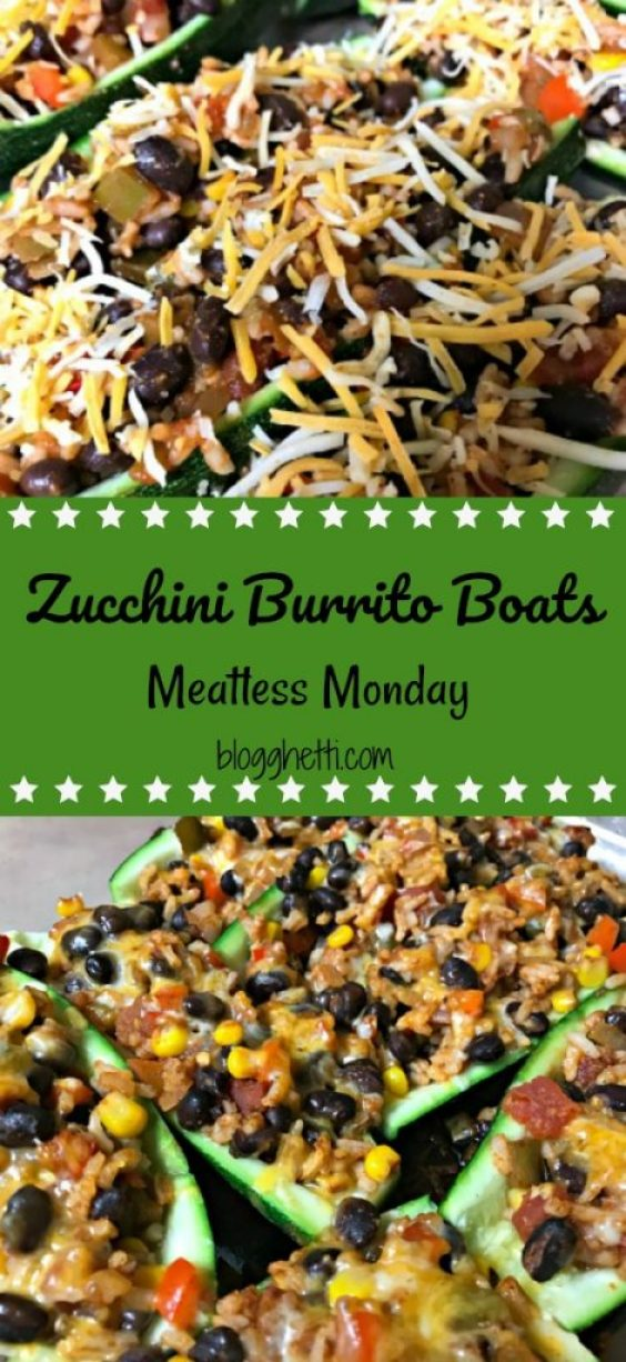 Zucchini burrito boats are so delicious and filling that you won't even notice that they're meatless. They are filled with your favorite salsa, black beans, and rice.