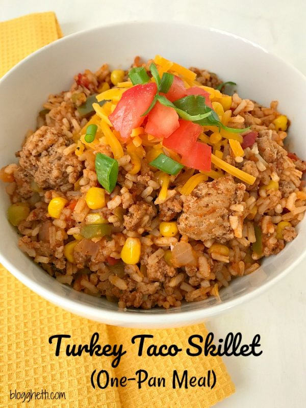 Turkey Taco Skillet One Pan Meal #turkey #onepan #taco