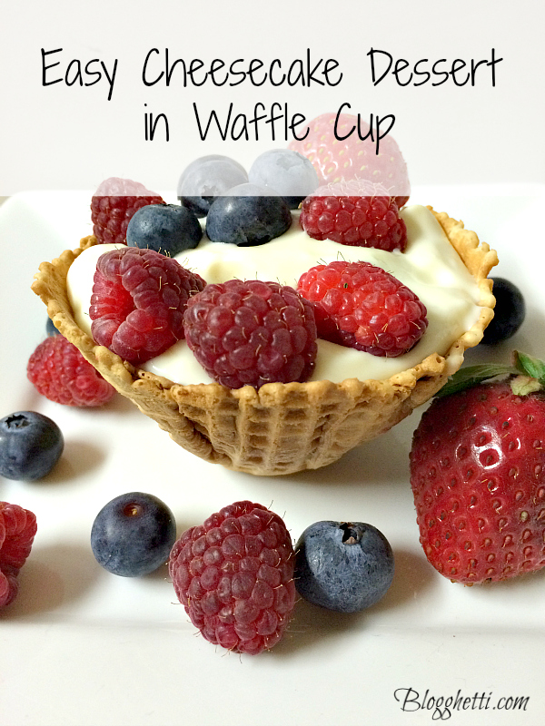 Easy Cheesecake Dessert in a Waffle Cup