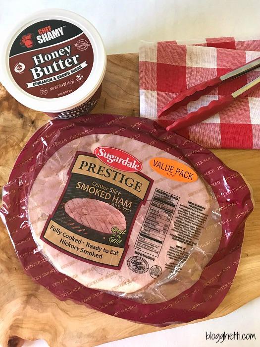 Honey Cinnamon Glazed Grilled Ham Steaks #ham #ChefShamy #CookoutWeek #butter #grilled