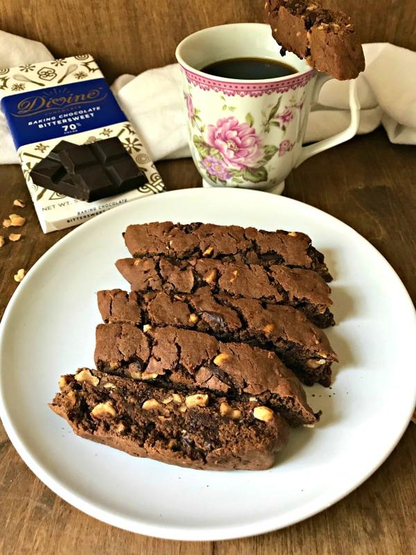 Chocolate Hazelnut Biscotti - Divine Bittersweet Chocolate