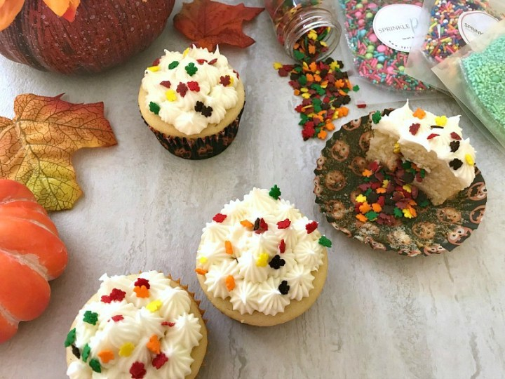 Festive Fall Cupcakes with White Chocolate Frosting - feature