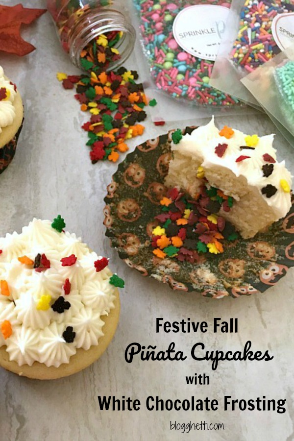 Festive Fall Piñata Cupcakes with White Chocolate Cream Cheese Frosting