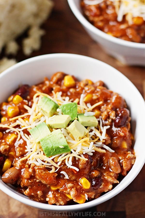 Slow Cooker Turkey Chili - Half Scratched