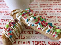 Italian Anise Biscotti gets a festive holiday makeover with colorful sprinkles. Whether you dunk this twice-baked cookies into your coffee or tea, or simply enjoy them as a treat, you'll get that classic anise flavor in each bite with bonus white chocolate drizzle. #ChristmasSweetsWeek #ad #biscotti #cookies #anise #Christmas #sprinkles