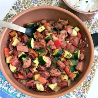 Kielbasa and Zucchini with Fire-Roasted Tomatoes Skillet Meal