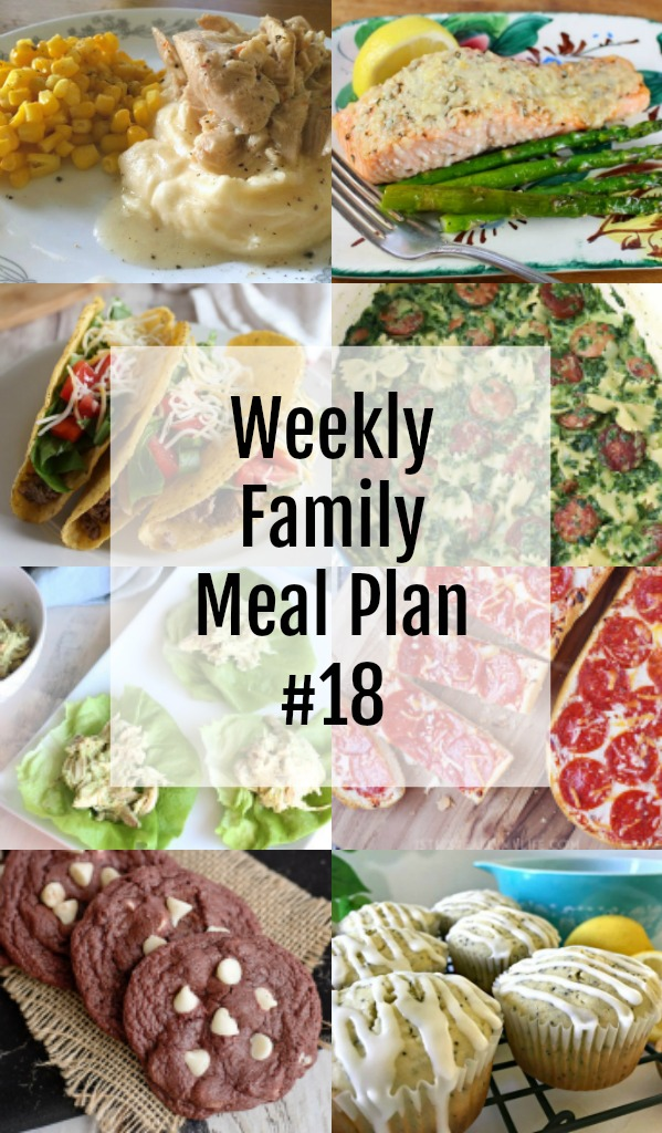 Here's this week's Weekly Family Meal Plan! My goal is to make your life just a bit easier. You'll find a variety of dinner ideas sure to please even the pickiest eater. #MealPlan #menu #family #weeklymeals #meal #dinner