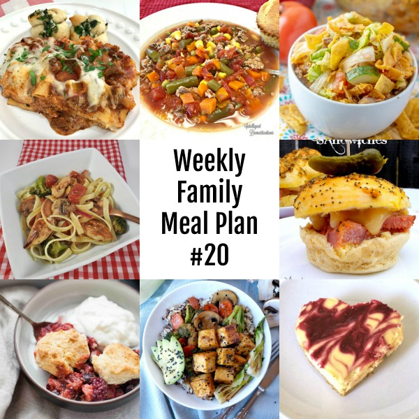Here's this week's Weekly Family Meal Plan! My goal is to make your life just a bit easier. You'll find a variety of dinner ideas sure to please even the pickiest eater. #mealplan #mealprep #dinner #family