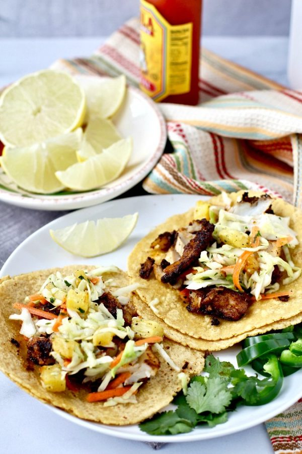 Charred fish tacos with cole slaw