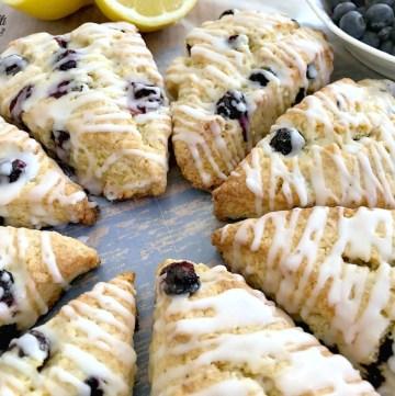 Lemon Blueberry Scones with a lemon glaze