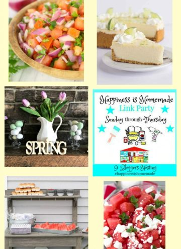 Hppiness is Homemade Link Party collage of features for the week