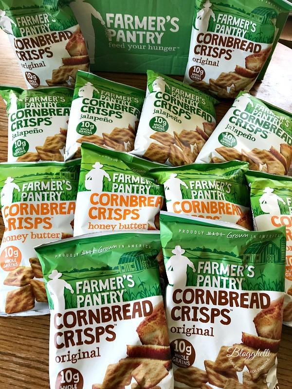 Assortment of flavors of Farmer's Pantry Cornbred crisps