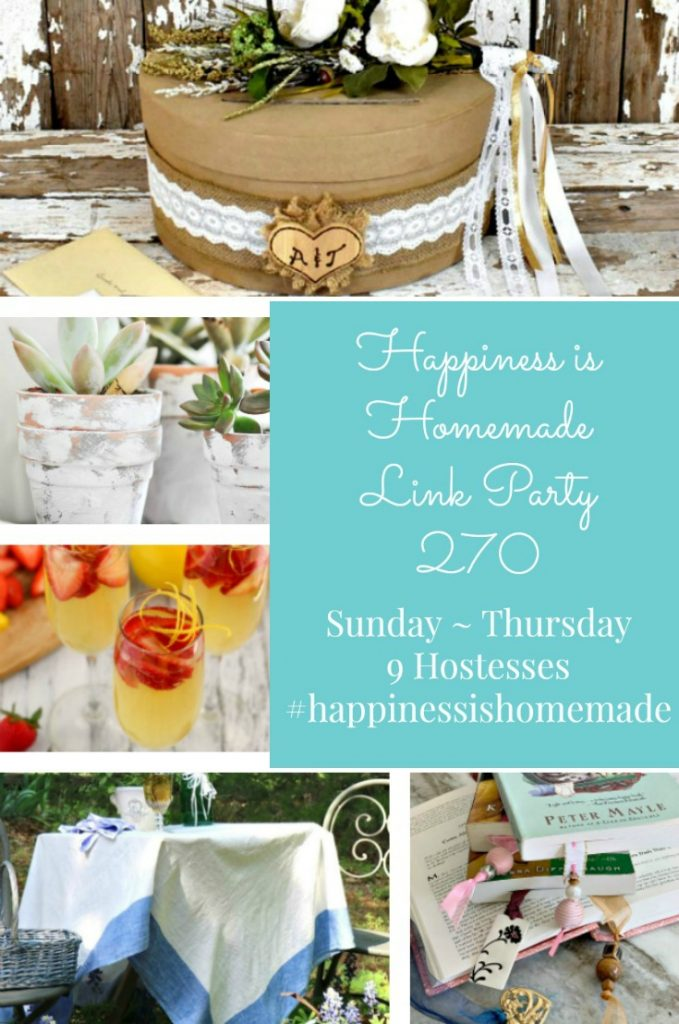 Happiness is Homemade Link Party 270. Place to share DIY, Home Decor, crafts, and recipes with the world. Sunday through Thursday. 9 Hostesses.