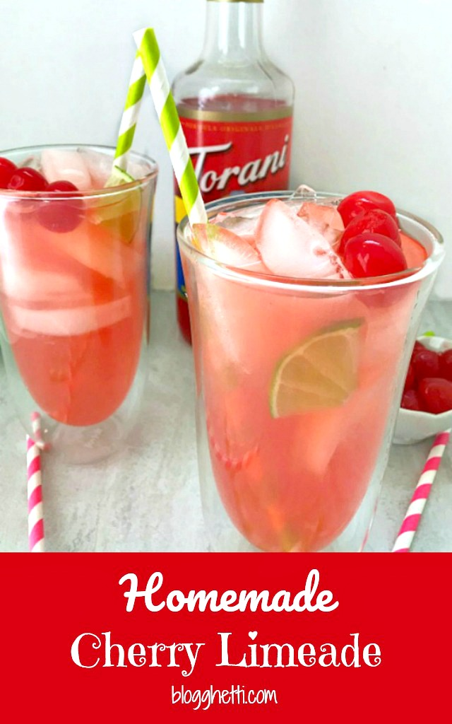 Homemade Cherry Limeade with Torani Syrup in JoyJolt Spike Cocktail Glasses