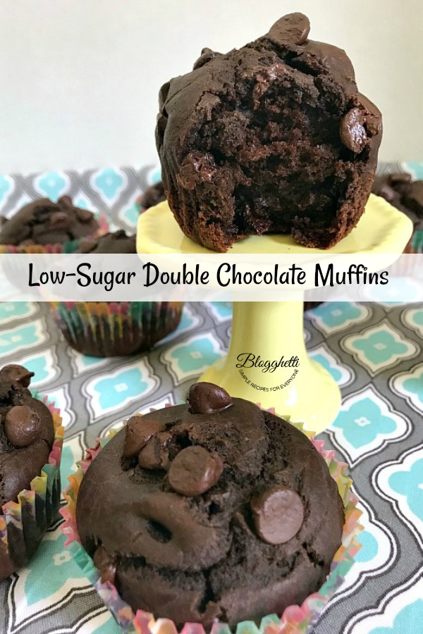 Low-Sugar Double Chocolate Muffins - pin